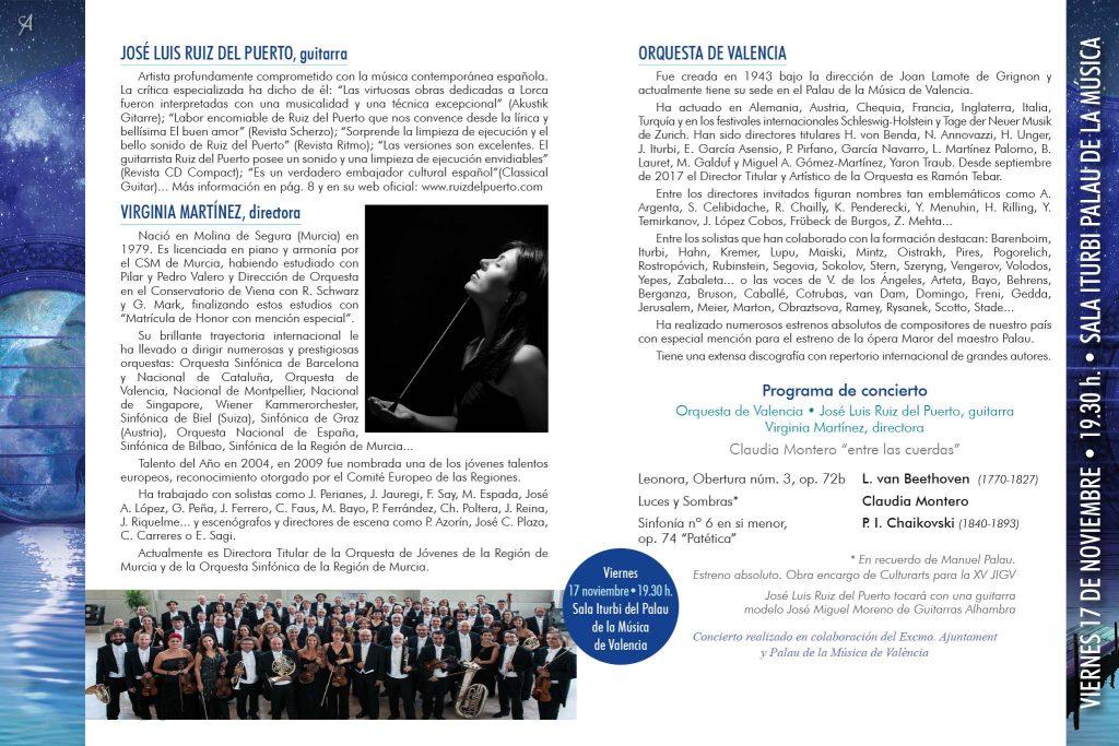 Concierto: Orquesta de Valencia, José Luis Ruiz del Puerto, guitarra, Virginia Martínez, directora